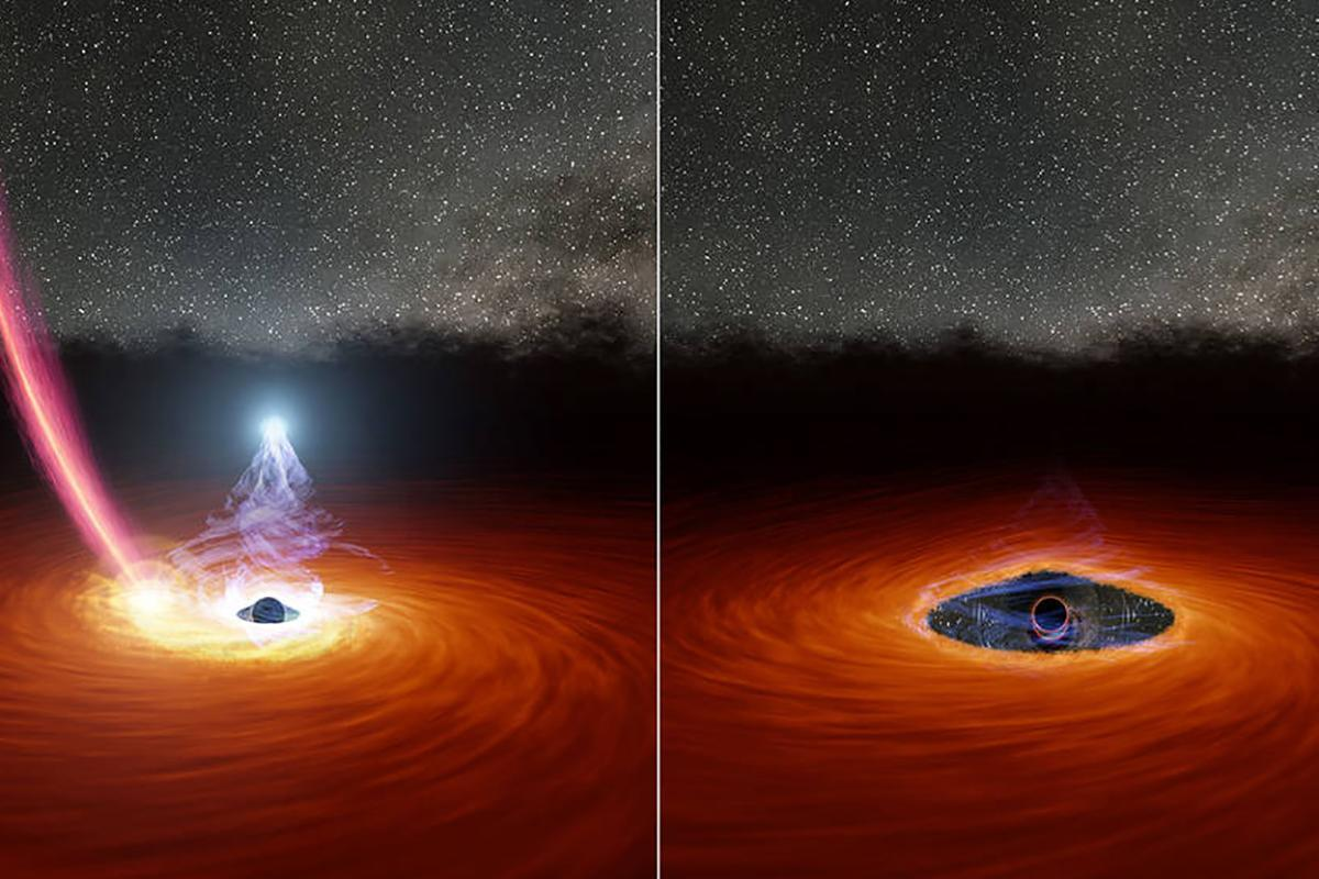 An illustration of what scientists think caused the black hole to disappear