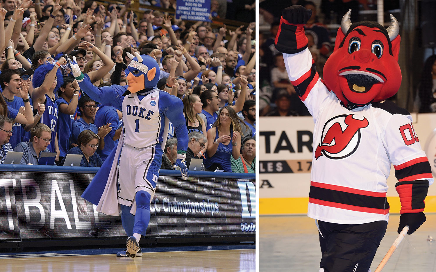 Mascots for the Duke Blue Devils and the New Jersey Devils.