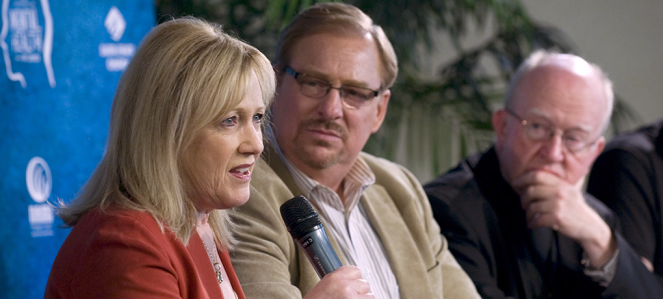 Kay and Rick Warren speak about mental health at a Saddleback Church event one year after their son's suicide.