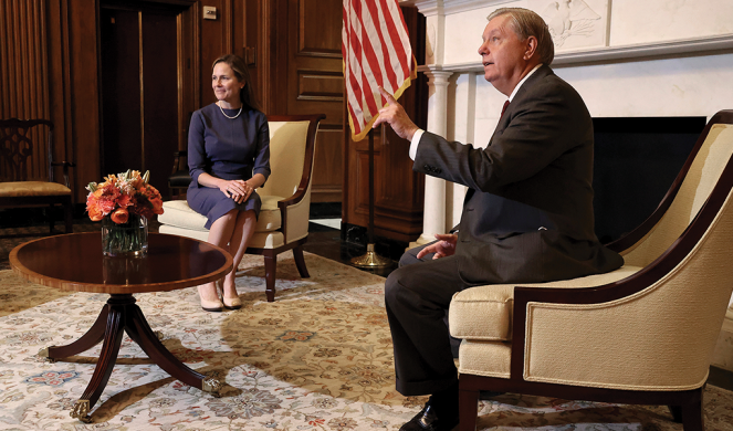 Barrett meets with Senate Judiciary Committee Chairman Lindsey Graham on Capitol Hill.