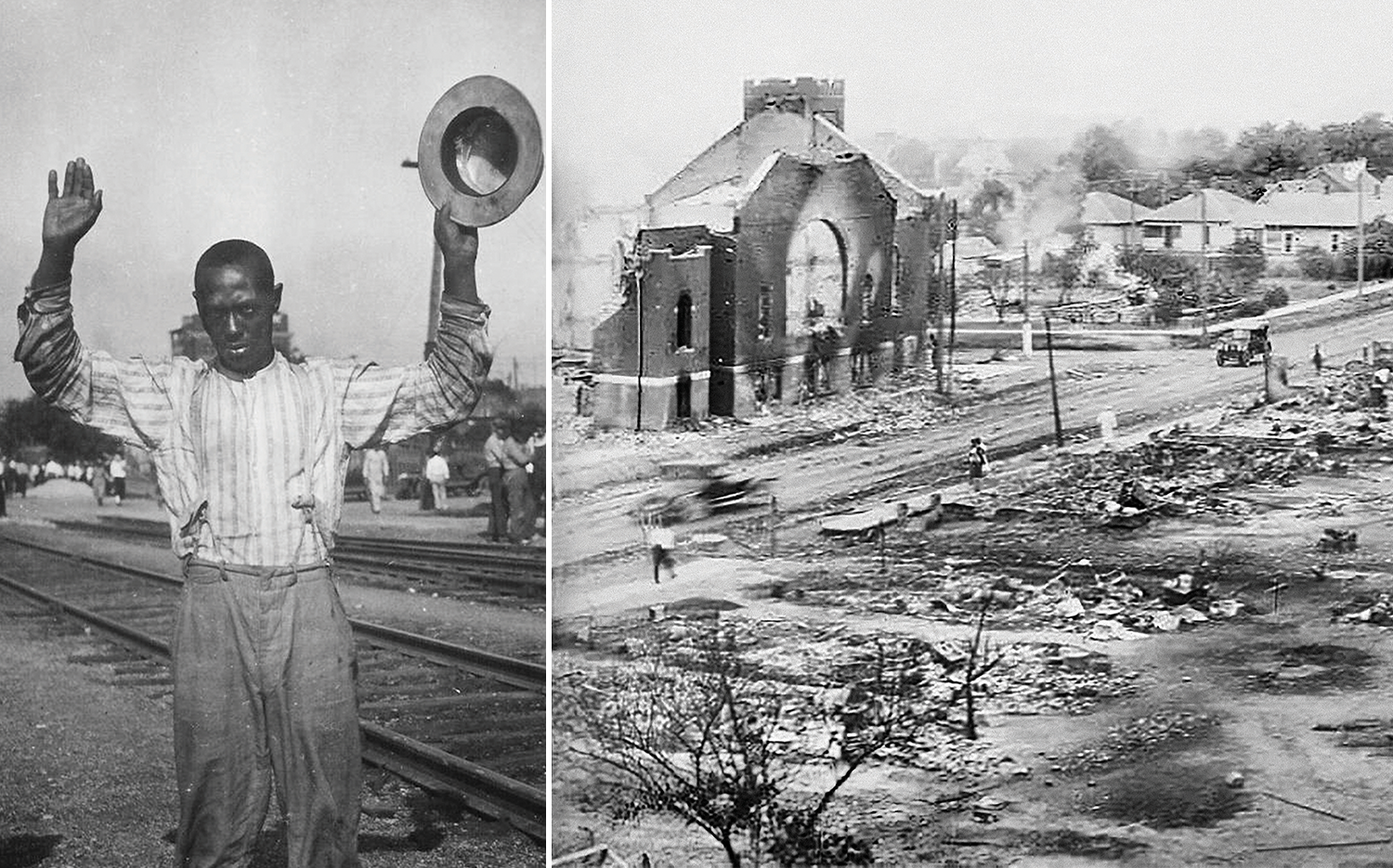 LEFT: A man surrenders during the riots. RIGHT: Part of the Greenwood district that was burned.