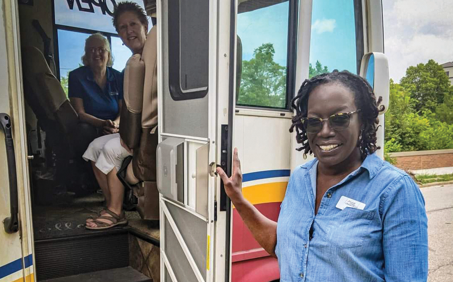 ICU-Cuyahoga's client advocate Lydia Walker (right) and two team members wait to welcome the next expecting mother in need at an ICU Mobile unit in Cleveland.