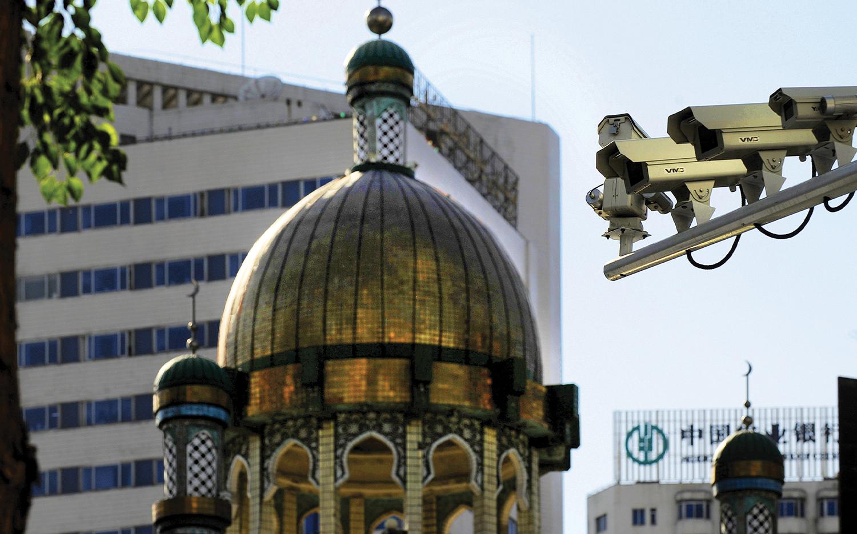 Security cameras on a street in Ürümqi, capital of China's Xinjiang region.
