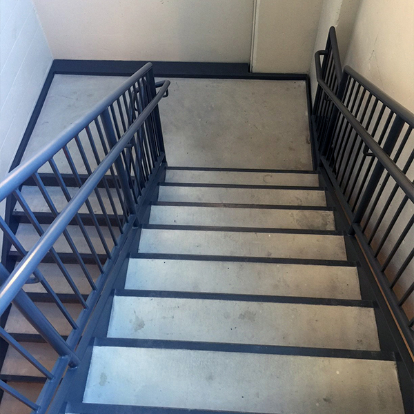concrete filled metal pan stair