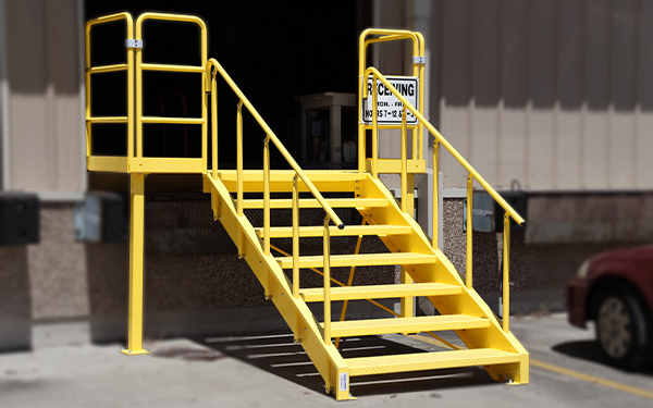 powder coated steel loading dock stairs