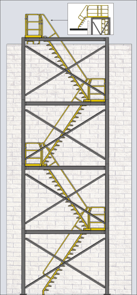 Alternating tread stair roof tower system