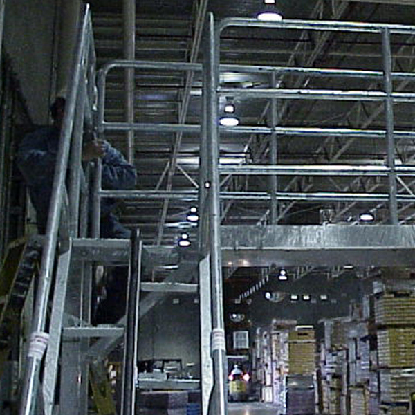 Carbon steel alternating tread stairs with galvanized finish