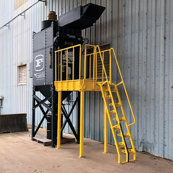 Carbon steel alternating tread stairs with powder coat finish