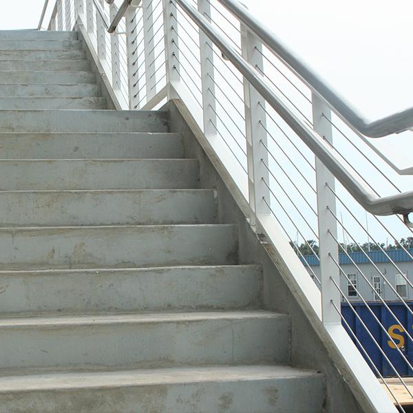 steel railing on concrete stair