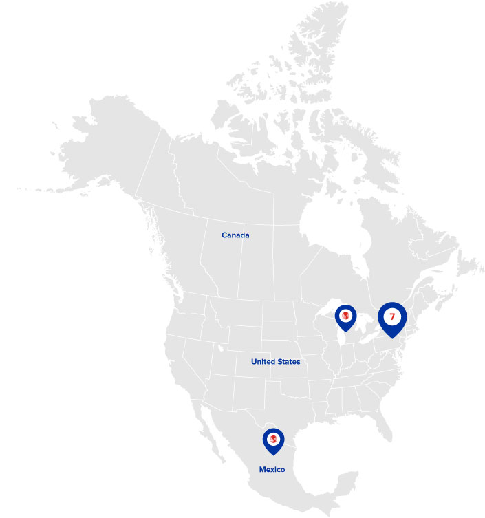 9 Locations across North America